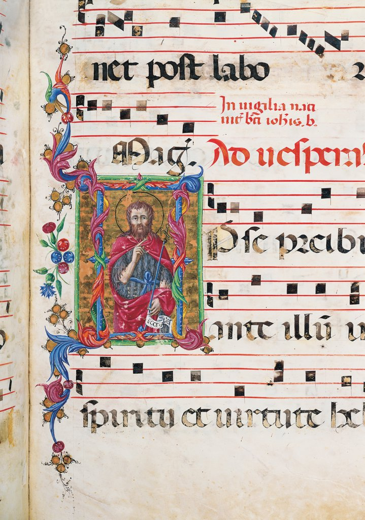 Day and night Antiphonary from Holy Saturday to the 10th Sunday after Pentecost, by Anonymous Sienese painter, 15th Century, illuminated manuscript. Italy, Tuscany, Siena, Osservanza Basilica. Detail. St John the Baptist illuminated page score notes music chant plant volutes square incipit: beginning initial letter St John the Baptist mantle: cloak clothes: dress skins cross scroll halo: aureole prayer blue red. : Stock Photo