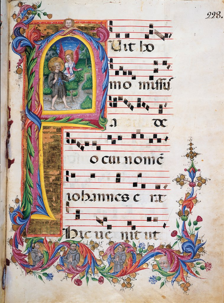 Day and night Antiphonary from Holy Saturday to the 10th Sunday after Pentecost, by Anonymous Sienese painter, 15th Century, illuminated manuscript. Italy, Tuscany, Siena, Osservanza Basilica. Whole artwork. St John the Baptist illuminated page score notes music chant plant volutes square incipit: beginning initial letter St John the Baptist clothes: dress skins halo: aureole angel landscape trees way prayer blue red ye. : Stock Photo