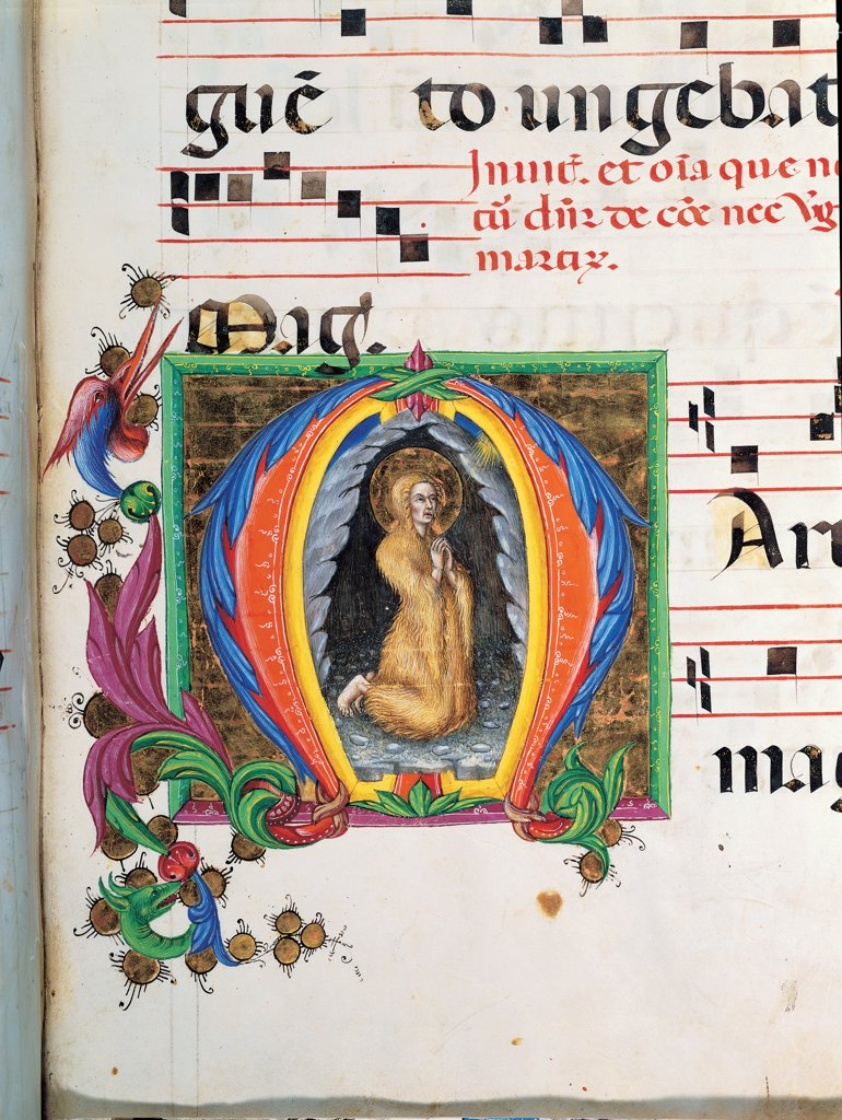 Day and night Antiphonary from Holy Saturday to the 10th Sunday after Pentecost, by Anonymous Sienese painter, 15th Century, illuminated manuscript. Italy, Tuscany, Siena, Osservanza Basilica. Detail. The repentant Mary Magdalene illuminated page score notes music chant plant volutes square incipit: beginning initial letter Magdalene hair halo: aureole prayer blue red yellow green. : Stock Photo