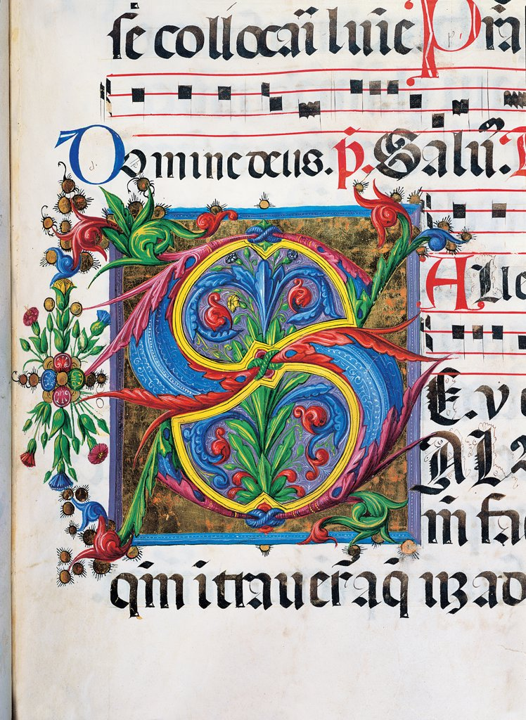 Psalter with weekday holiday day Hymns according to the Roman Curia, by Anonymous Sienese painter , Matteo di Giovanni, 1474, 15th Century, illuminated manuscript. Italy, Tuscany, Siena, Osservanza basilica. Detail. Salvum- illuminated page verses psalms prayer incipit: beginning initial letter plant volutes rinceaux blue yellow green red black white. : Stock Photo