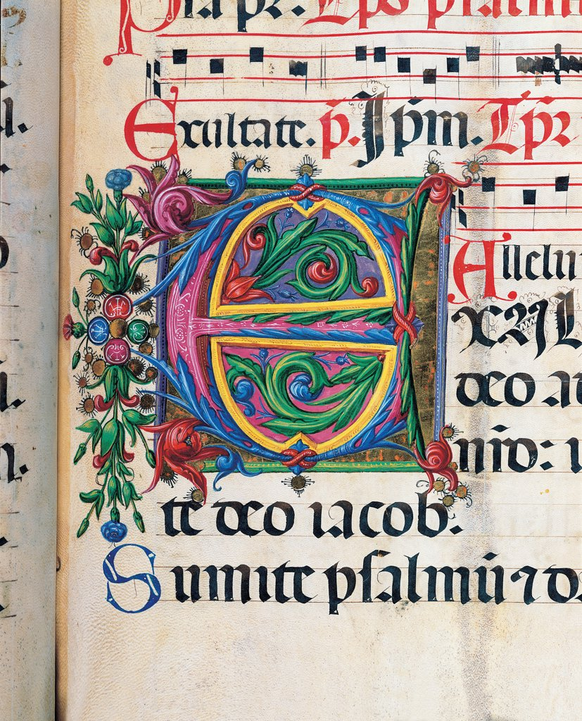 Stock Photo: 1899-30090 Psalter with weekday holiday day Hymns according to the Roman Curia, by Anonymous Sienese painter , Matteo di Giovanni, 1474, 15th Century, illuminated manuscript. Italy, Tuscany, Siena, Osservanza basilica. Detail. Exultate- illuminated page verses psalms prayer incipit: beginning initial letter plant volutes rinceaux blue yellow green red black white.