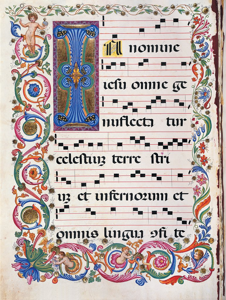 Stock Photo: 1899-30092 Proprio dei Santi gradual from the Feast of the Holy Name of Jesus to the Feast of San Leonardo da Porto Maurizio, by Anonymous Sienese painter, 19th Century, illuminated manuscript. Italy, Tuscany, Siena, Osservanza basilica. Whole artwork. In nomine illuminated page score notes text verses prayer chant incipit: beginning initial letter decoration rinceaux plant volutes blue red yellow green.