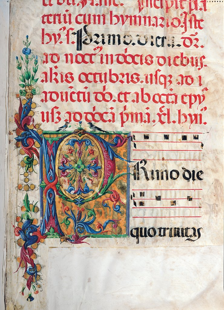 Stock Photo: 1899-30093 Psalter with night and day holiday Hymns according to the Roman Curia tradition, by Anonymous Sienese painter, 15th Century, illuminated manuscript. Italy, Tuscany, Siena, Osservanza basilica. Detail. Primo- illuminated page verses psalms prayer incipit: beginning initial letter plant volutes rinceaux blue yellow green red black white.