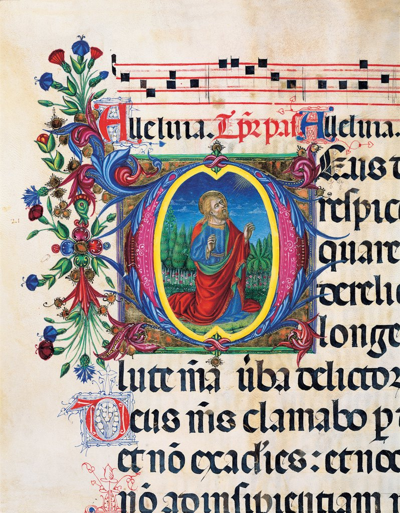 Psalter with night and day holiday Hymns according to the Roman Curia tradition, by Anonymous Sienese painter, 15th Century, illuminated manuscript. Italy, Tuscany, Siena, Osservanza basilica. Detail. Illuminated page with a Prophet verses psalms prayer incipit: beginning initial letter square man prophet halo: aureole plant volutes rinceaux blue yellow green red black white. : Stock Photo