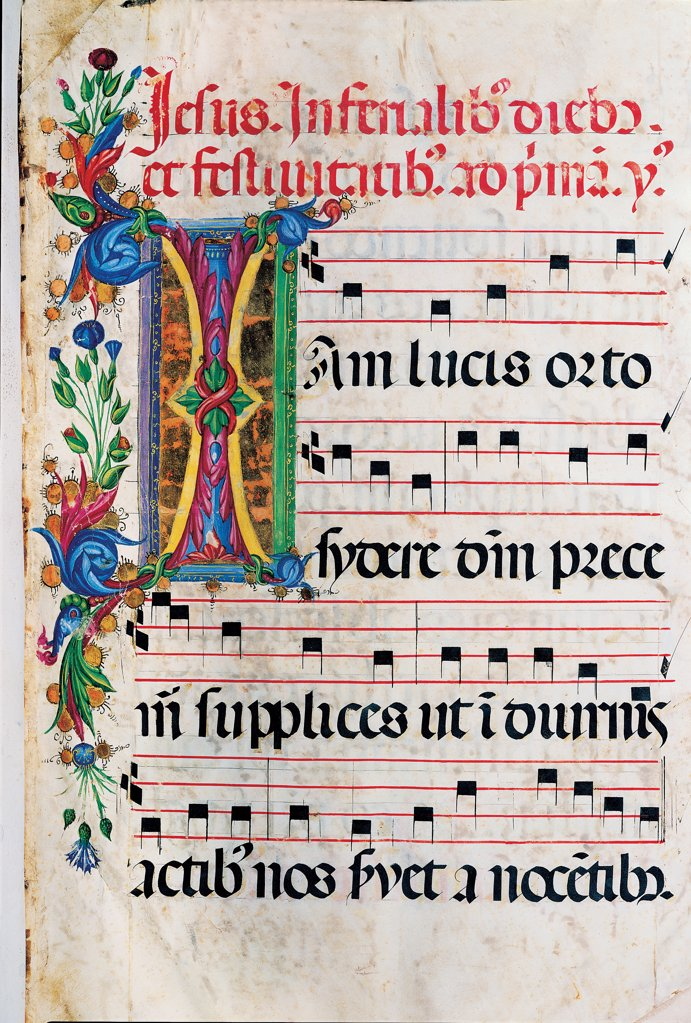 Stock Photo: 1899-30099 Psalter with weekday holiday day Hymns according to the Roman Curia tradition, by Anonymous Sienese painter, 15th Century, illuminated manuscript. Italy, Tuscany, Siena, Osservanza basilica. Whole artwork. Iam- illuminated page verses psalms prayer incipit: beginning initial letter plant volutes rinceaux blue yellow green red black white.