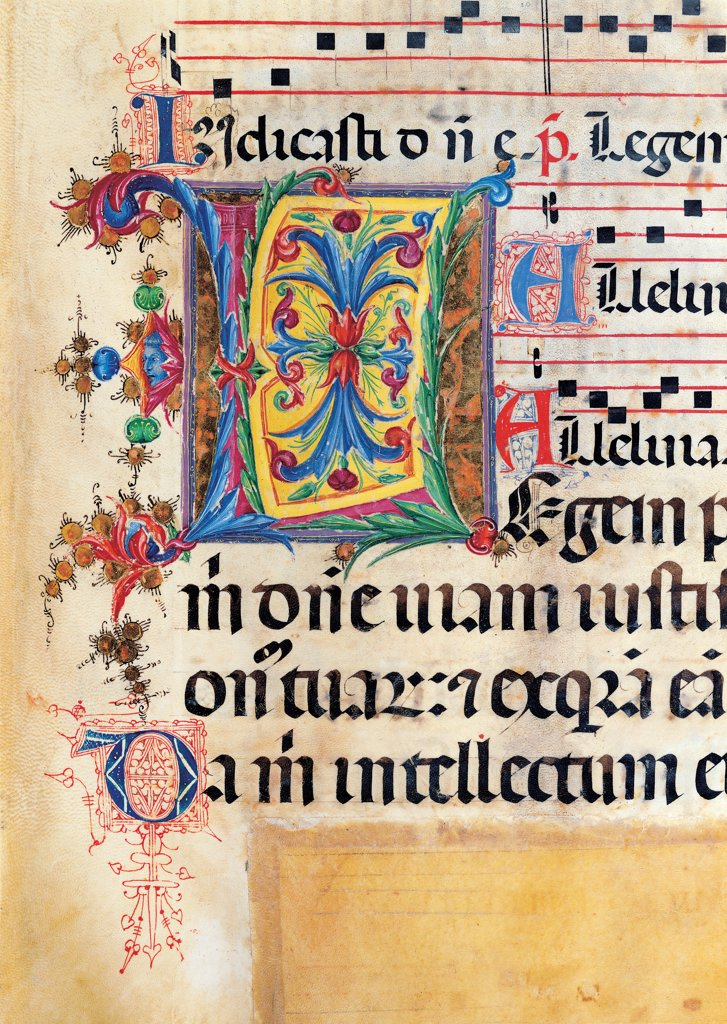 Psalter with weekday holiday day Hymns according to the Roman Curia tradition, by Anonymous Sienese painter, 15th Century, illuminated manuscript. Italy, Tuscany, Siena, Osservanza basilica. Detail. Legem- illuminated page verses psalms prayer incipit: beginning initial letter plant volutes rinceaux blue yellow green red black white. : Stock Photo