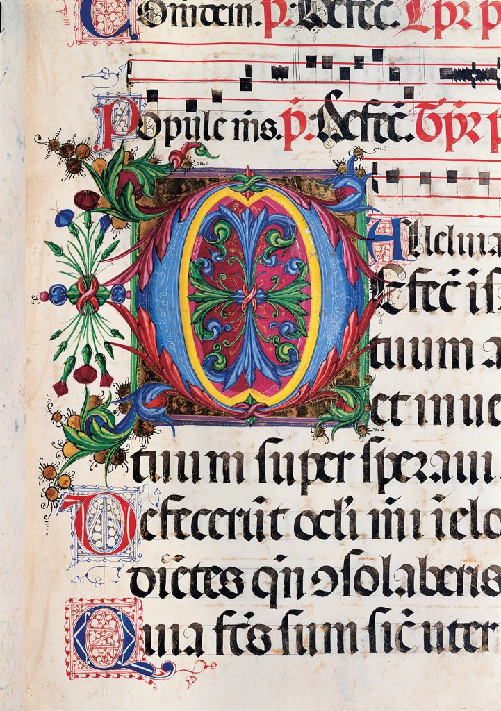 Psalter with weekday holiday day Hymns according to the Roman Curia tradition, by Anonymous Sienese painter, 15th Century, illuminated manuscript. Italy, Tuscany, Siena, Osservanza basilica. Detail. Defecit- illuminated page verses psalms prayer incipit: beginning initial letter plant volutes rinceaux blue yellow green red black white. : Stock Photo