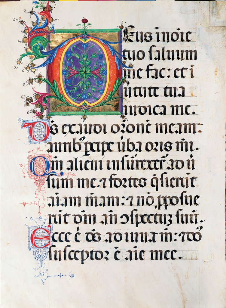 Psalter with weekday holiday day Hymns according to the Roman Curia tradition, by Anonymous Sienese painter, 15th Century, illuminated manuscript. Italy, Tuscany, Siena, Osservanza basilica. Whole artwork. Deus- illuminated page verses psalms prayer incipit: beginning initial letter plant volutes rinceaux blue yellow green red black white. : Stock Photo