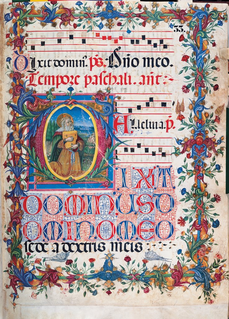 Psalter with weekday holiday day Hymns according to the Roman Curia tradition, by Anonymous Sienese painter, 15th Century, illuminated manuscript. Italy, Tuscany, Siena, Osservanza basilica. Whole artwork. David- illuminated page verses psalms prayer incipit: beginning initial letter square old man beard king David halo: aureole book plant volutes rinceaux blue yellow green red black white. : Stock Photo