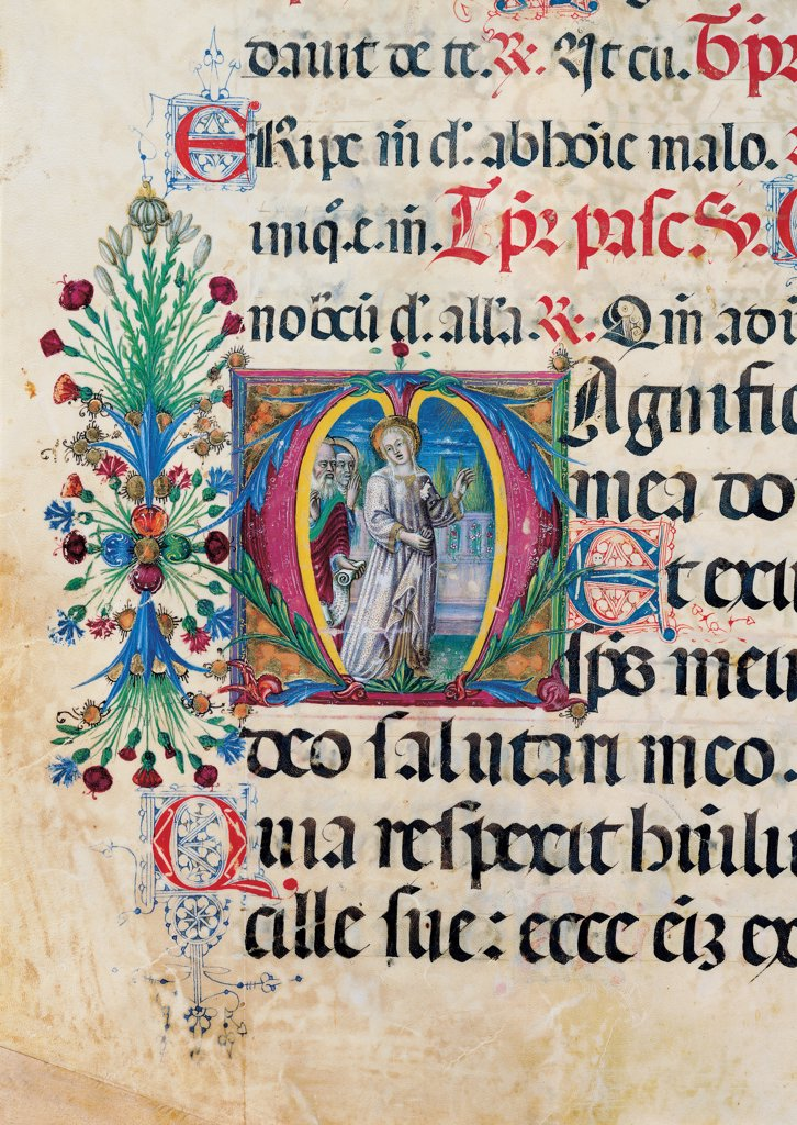Stock Photo: 1899-30106 Psalter with weekday holiday day Hymns according to the Roman Curia tradition, by Anonymous Sienese painter, 15th Century, illuminated manuscript. Italy, Tuscany, Siena, Osservanza basilica. Detail. Visitation - illuminated page verses psalms prayer incipit: beginning initial letter square woman St Elizabeth halo: aureole man trees plant volutes rinceaux blue yellow green red black white.