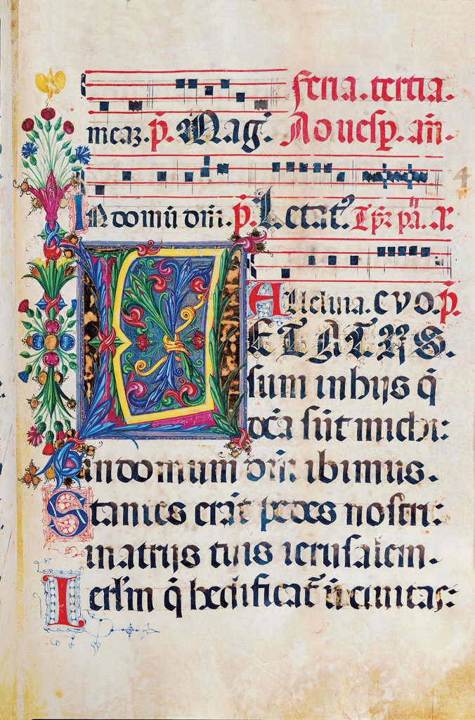 Psalter with weekday holiday day Hymns according to the Roman Curia tradition, by Anonymous Sienese painter, 15th Century, illuminated manuscript. Italy, Tuscany, Siena, Osservanza basilica. Whole artwork. Letatus- illuminated page verses psalms prayer incipit: beginning initial letter plant volutes rinceaux blue yellow green red black white. : Stock Photo