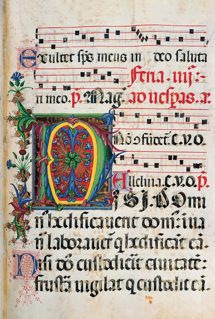Psalter with weekday holiday day Hymns according to the Roman Curia tradition, by Anonymous Sienese painter, 15th Century, illuminated manuscript. Italy, Tuscany, Siena, Osservanza basilica. Whole artwork. Nisi- illuminated page verses psalms prayer incipit: beginning initial letter plant volutes rinceaux blue yellow green red black white. : Stock Photo