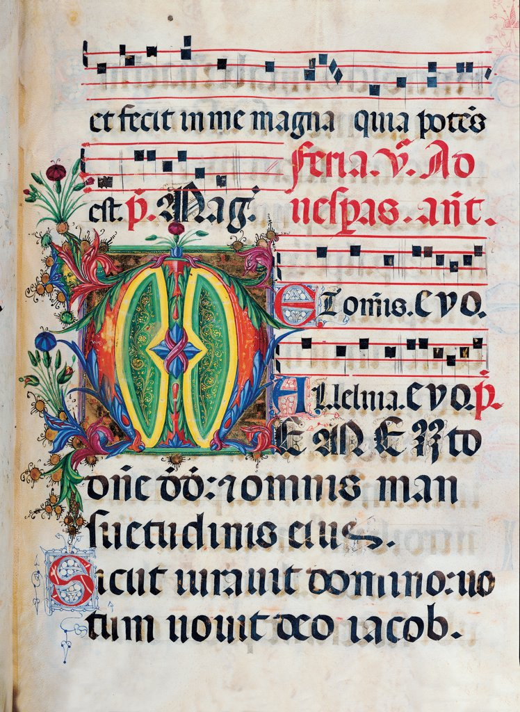 Psalter with weekday holiday day Hymns according to the Roman Curia tradition, by Anonymous Sienese painter, 15th Century, illuminated manuscript. Italy, Tuscany, Siena, Osservanza basilica. Whole artwork. Memento- illuminated page verses psalms prayer incipit: beginning initial letter plant volutes rinceaux blue yellow green red black white. : Stock Photo