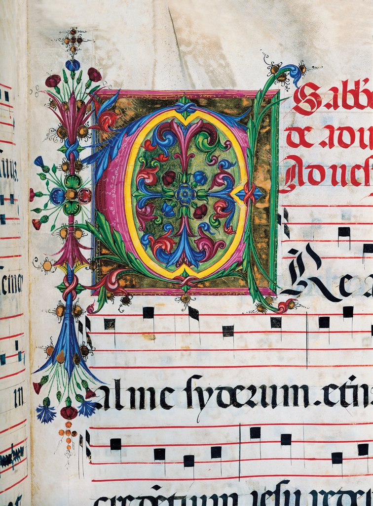 Stock Photo: 1899-30112 Psalter with weekday holiday day Hymns according to the Roman Curia tradition, by Anonymous Sienese painter, 15th Century, illuminated manuscript. Italy, Tuscany, Siena, Osservanza basilica. Detail. Creator- illuminated page verses psalms prayer incipit: beginning initial letter plant volutes rinceaux blue yellow green red black white.