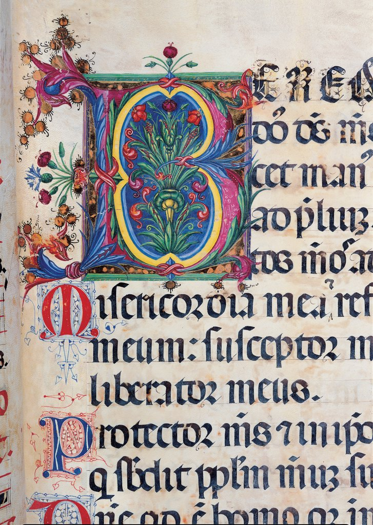 Stock Photo: 1899-30113 Psalter with weekday holiday day Hymns according to the Roman Curia tradition, by Anonymous Sienese painter, 15th Century, illuminated manuscript. Italy, Tuscany, Siena, Osservanza basilica. Detail. Benedictus- illuminated page verses psalms prayer incipit: beginning initial letter plant volutes rinceaux blue yellow green red black white.