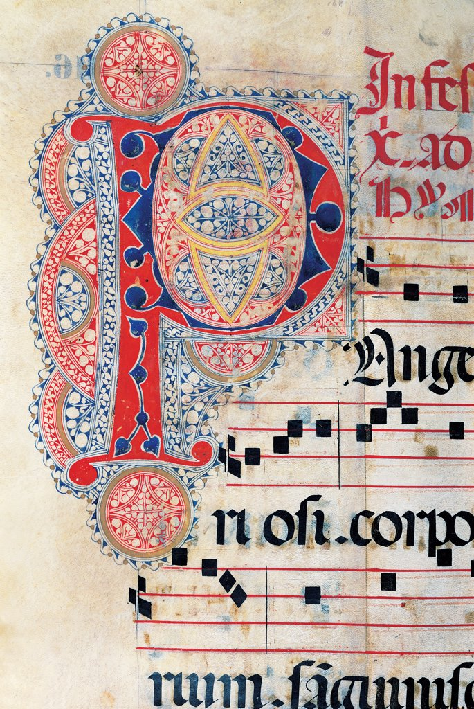 Psalter with weekday holiday day Hymns according to the Roman Curia tradition, by Anonymous Sienese painter, 15th Century, illuminated manuscript. Italy, Tuscany, Siena, Osservanza basilica. Detail. C 116v- illuminated page verses psalms prayer incipit: beginning initial letter plant volutes rinceaux blue yellow red black white. : Stock Photo