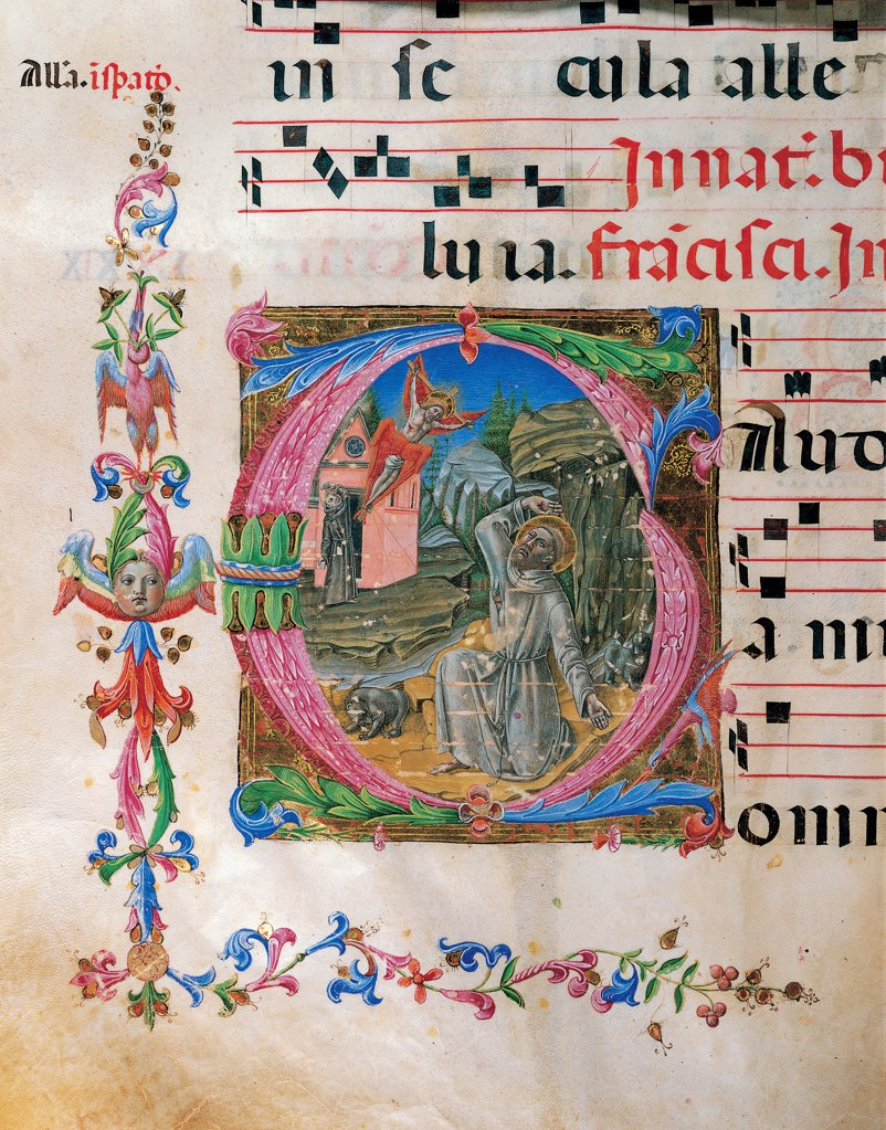 Proprio dei Santi gradual from St Andrew Apostle Eve to the Feast of pope Clement and Comune dei Santi gradual from an Apostle Eve to the dedication of the church, by Anonymous Sienese painter, 15th Century, illuminated manuscript. Italy, Tuscany, Siena, Osservanza basilica. Detail. St Francis receiving the stigmata illuminated page score notes text verses prayer chant incipit: beginning initial letter square St Francis habit: tunic monk friar halo: aureole miracle vision crucifix wings Chri. : Stock Photo