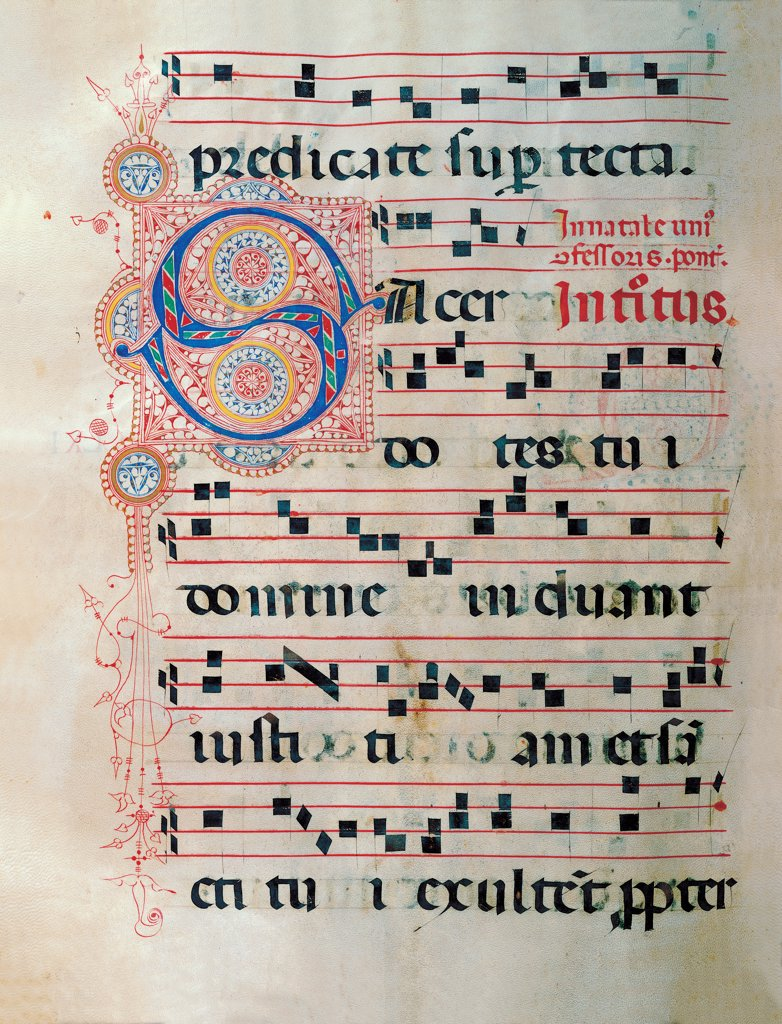 Proprio dei Santi gradual from St Andrew Apostle Eve to the Feast of pope Clement and Comune dei Santi gradual from an Apostle Eve to the dedication of the church, by Anonymous Sienese painter, 15th Century, illuminated manuscript. Italy, Tuscany, Siena, Osservanza basilica. Whole artwork. Sacerdotes illuminated page score notes text verses prayer chant incipit: beginning initial letter decoration plant volutes rinceaux blue red yellow green. : Stock Photo