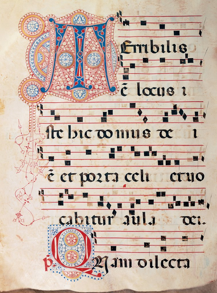 Proprio dei Santi gradual from St Andrew Apostle Eve to the Feast of pope Clement and Comune dei Santi gradual from an Apostle Eve to the dedication of the church, by Anonymous Sienese painter, 15th Century, illuminated manuscript. Italy, Tuscany, Siena, Osservanza basilica. Whole artwork. Terribilis illuminated page score notes text verses prayer chant incipit: beginning initial letter decoration plant volutes rinceaux blue red yellow green. : Stock Photo
