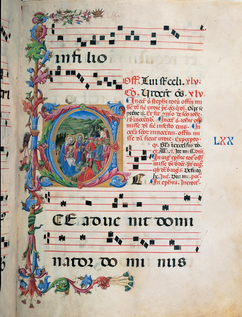 Proprio del tempo gradual from the first Sunday of Advent to the Saturday before Palm Sunday, by Anonymous Sienese painter , Benvenuto di Giovanni Giovanni di Meo del Guasta anonymous Sienese painter, 15th Century, illuminated manuscript. Italy, Tuscany, Siena, Osservanza basilica. Whole artwork. Illuminated page with the Adoration of the Magi page score notes music chant verses plant volutes square Infant Jesus St Joseph Virgin Mary Holy Family the Magi onlookers: bystanders presents adoration  : Stock Photo
