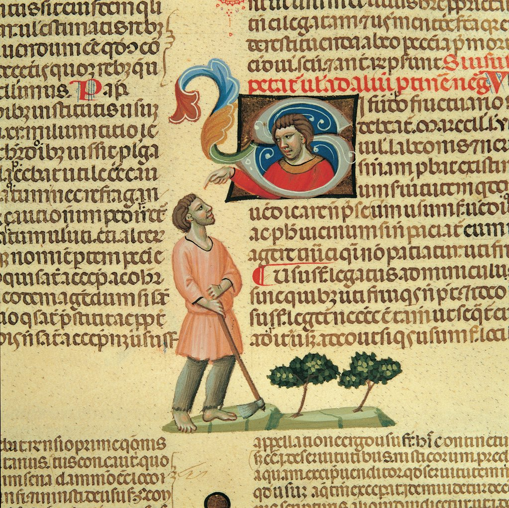 Stock Photo: 1899-30146 Digestum vetus, by Master of 1328, 14th Century, illuminated manuscript. Italy, Piemonte, Turin, National Library. Detail. Folio 144v, a, 20. Instructions to the farmer illuminated page text incipit: beginning initial letter square men small figures farmer farm worker hoe field cultivation trees blue black light blue red pink.