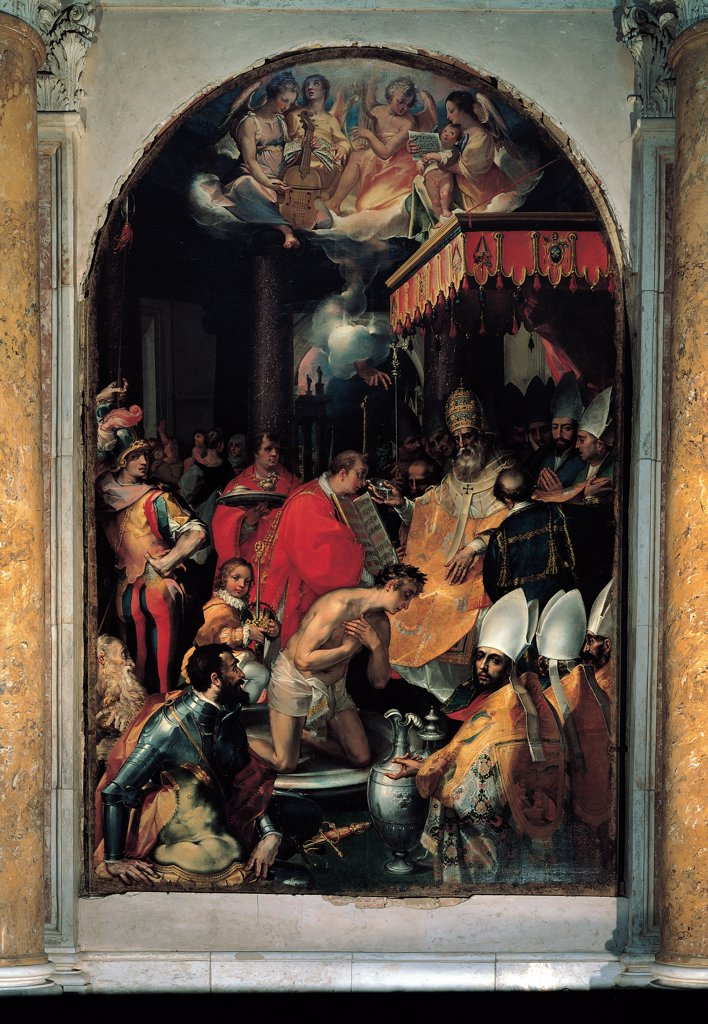 The Baptism of Constantine, by Vanni Francesco, 16th Century, oil on canvas. Italy, Tuscany, Siena, Sant'Agostino Church. Whole artwork. Sacrament baptism ceremony emperor baptized Constantine baldachin pontiff Pope Sylvester tiara Dalmatian ministrant miter bishops soldier armor Ampullae water clouds musicians angels twilight. : Stock Photo