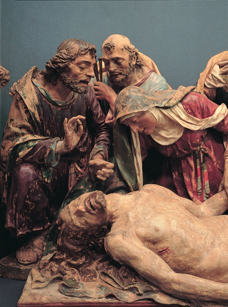 Stock Photo: 1899-30169 Lamentation over Dead Christ, by Cozzarelli Giacomo, 1495 - 1498, 15th Century, polychrome terracotta. Italy, Tuscany, Siena, Osservanza basilica, Aurelio Castelli Museum. Detail. Men apostles dresses: robes: garments Virgin Mary Mother mantle: cloak veil drapery: draping pain torment dead body Jesus corpse white green red brown tones: shades.