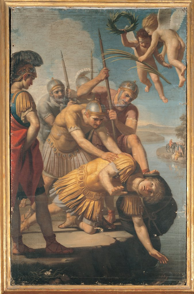 Martyrdom of St Secundus, by Tofanelli Stefano, 18th Century, oil on canvas. Italy, Umbria, Gubbio, Perugia, San Secondo church. Whole artwork. Martyrdom of St Secondus. Soldiers legionaries armor: cuirass helmet shield lances: spears river angels putti palm crown martyrdom sky clouds. : Stock Photo