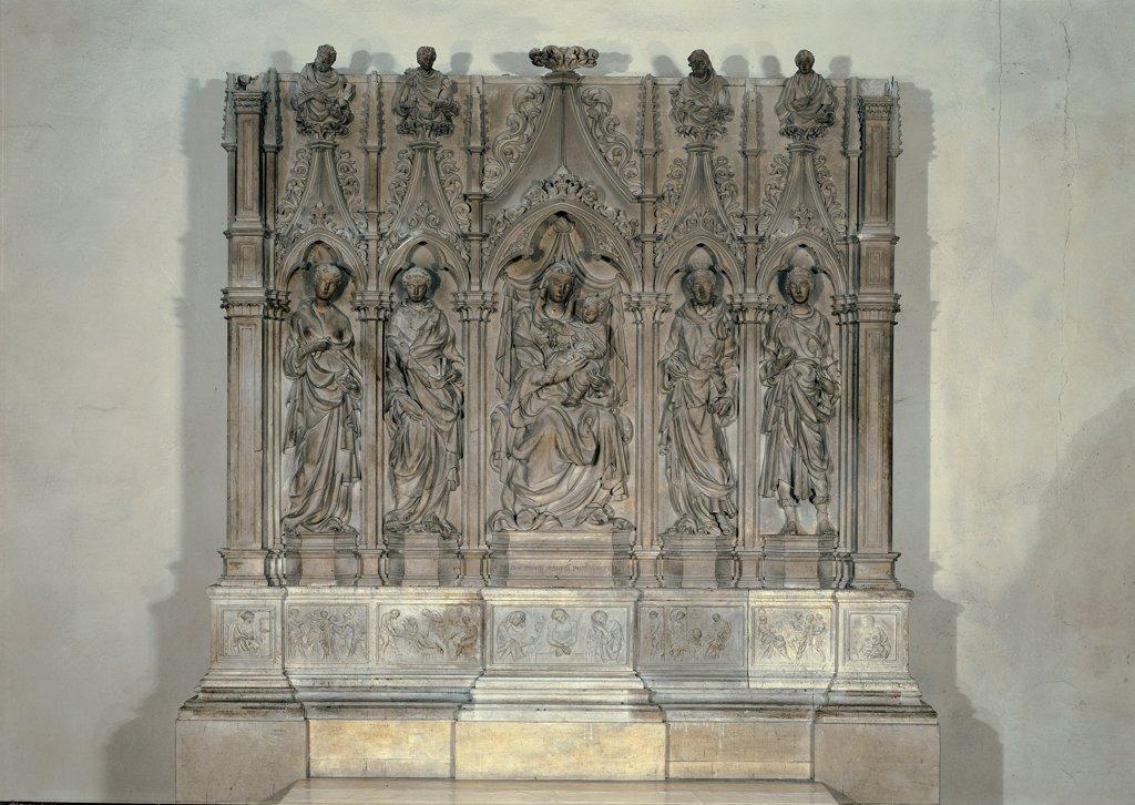 Stock Photo: 1899-30183 Polyptych with Madonna and Child with Sts Laurence, Jerome and Frediano, by Della Quercia Jacopo, 1416 - 1422, 15th Century, marble. Italy, Tuscany, Lucca, San Frediano Church. Whole artwork. Polyptych Virgin Jesus the Infant Saints St Jerome St Frediano St Lawrence small columns pinnacles: spires busts predella bas-relief.