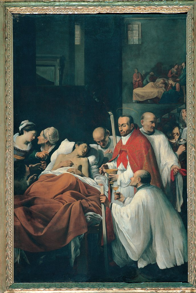 Stock Photo: 1899-30186 St Carlo Borromeo Celebrates the Eucharist for Victims of the Plague, by Saraceni Carlo, 17th Century, tela. Italy, Emilia Romagna, Cesena, Forli, Servi church. Dying man priests St Carlo plague victim sick man men women bystanders onlookers bed bedside group interior room windows door gilt wooden altarpiece.