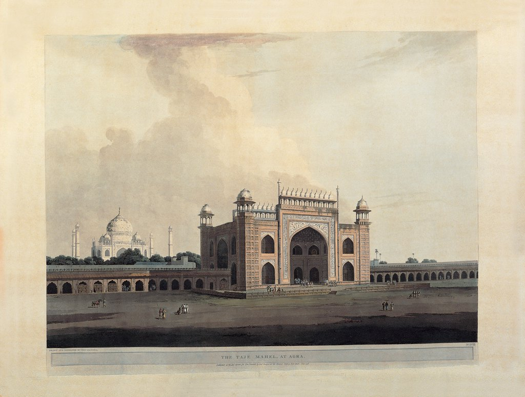 "Aquatint from """"Oriental Scenery"""", by Daniell Thomas, Daniell William, 1795, 18th Century, aquatint. Italy, Lombardy, Milan, Braidense National Library. Whole artwork. Agra-Taj Mahal, entrance: gate. View landscape India walls level ground: flat ground gate: entrance gate arch towers tomb: grave mausoleum dome small figures believers visitors brown tones ocher white. : Stock Photo"