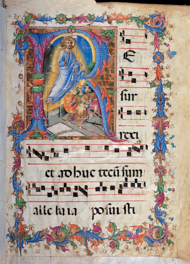 Stock Photo: 1899-30200 Miniature depicting the Resurrection, by Sano di Pietro, 15th Century, miniature on parchment. Italy, Tuscany, Siena, Santa Maria Assunta Cathedral, Piccolomini Library. Whole artwork. Page gradual 96-2, no2. Initial letter incipit sepulcher tomb Christ Rising from the Dead Resurrection light centurion stave notes Late Gothic uncial script frame flowers rinceaux.