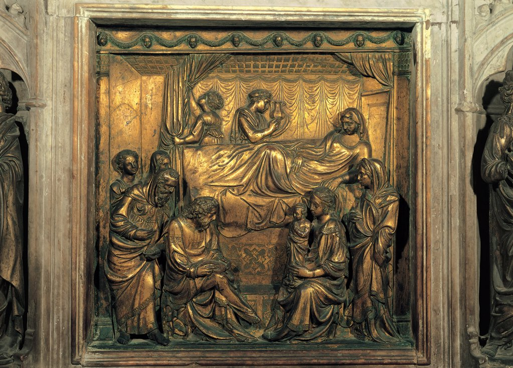 Gilded Brass Panel Decorated with the Birth of John the Baptist, by Turino di Sano, Giovanni Turino, 1417 - 1427, 15th Century, brass, lost-wax casting, golding. Italy, Tuscany, Siena, San Giovanni Parish Church. Detail. Panel gilded brass Birth John the Baptist woman in labor lying St Elisabeth Zachariah feet bed canopy curtains ceiling woman holding a child. : Stock Photo
