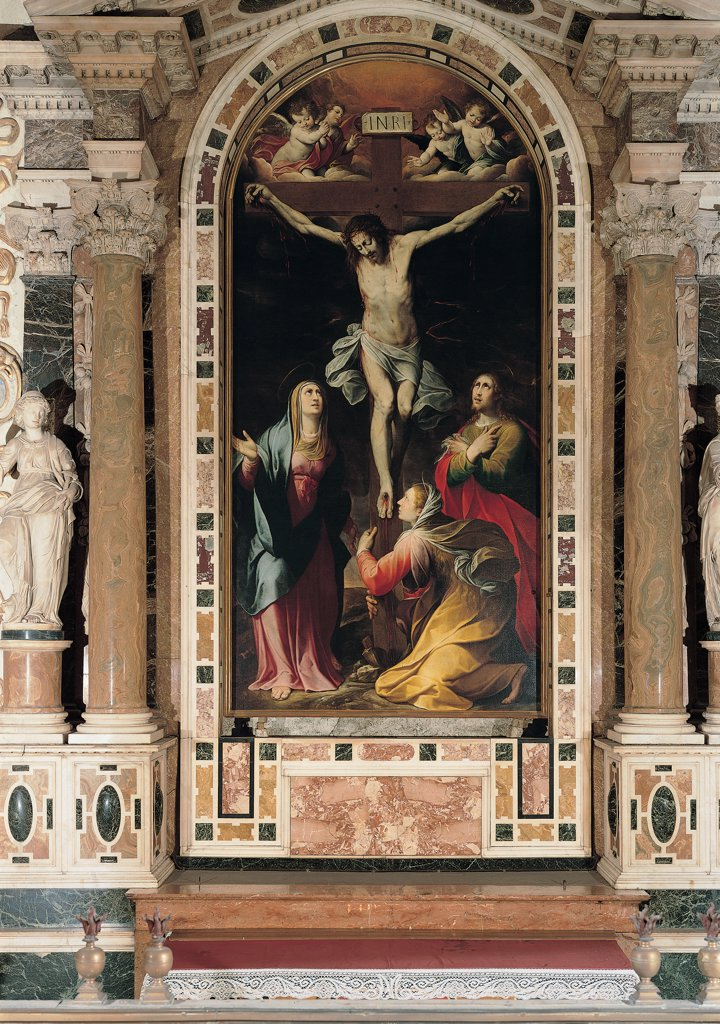The Crucifixion, by Procaccini Camillo, 17th Century, oil on canvas. Italy, Lombardy, Milan, Sant'Alessandro Church. The Crucifixion Cross Gesu Jesus Christ the Virgin Mary the Virgin Mary Madonna grieved: sorrowed Mary St Mary Magdalene angels decoration interior church columns capitals polychrome marbles sculptures. : Stock Photo