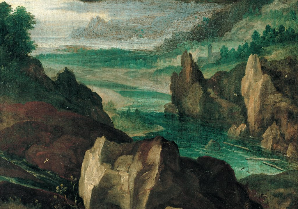 The Assumption of St Mary Magdalene, by Procaccini Giulio Cesare, Procaccini Carlo Antonio, 1605 - 1610, 17th Century, oil on canvas. Private collection. Detail. Landscape rocks river plants mist trees. : Stock Photo