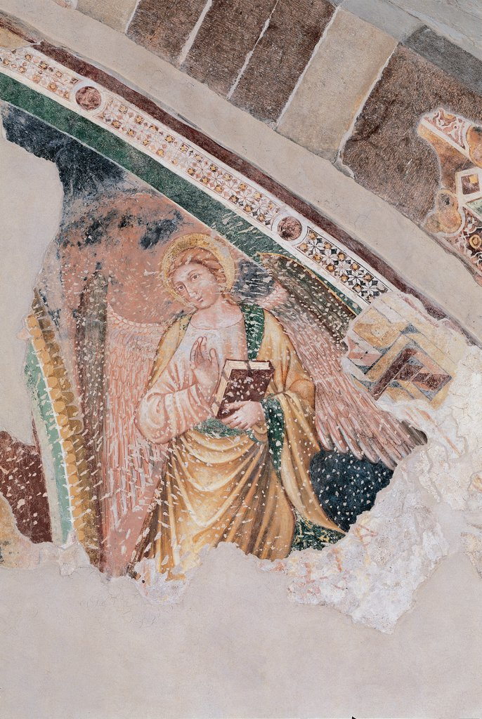 The Angel, by Unknown, 14th Century, fresco. Italy, Brescia, Manerba del Garda, localita Pieve Vecchia, Parish Church. Detail. Angel colored wings sacred text book cloak: mantle dress: garment decoration tondos rosettes white yellow green pink red. : Stock Photo