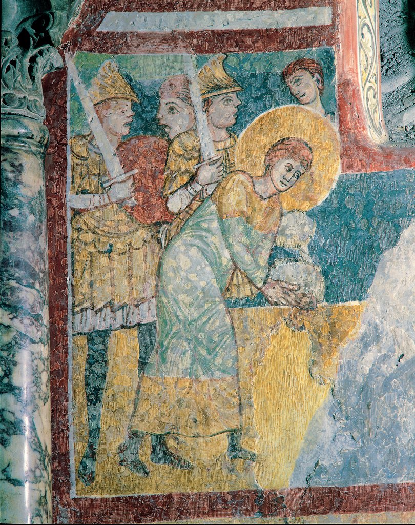 Stories from the Life of St Justin, by Unknown, 13th Century, fresco. Italy, Friuli Venezia Giulia, Trieste, San Giusto Cathedral. Detail. Martyr saint St Justin martyr hands rope halo: aureole tunic: habit soldiers armor: cuirass swords gladius border panel green red yellow blue. : Stock Photo