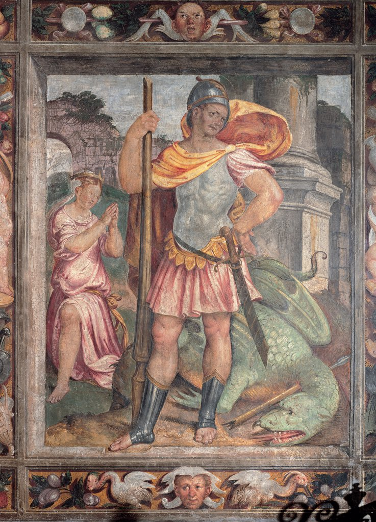 Stock Photo: 1899-30234 St George and the Princess, by Piazza Calisto, 1555 - 1555, 16th Century, fresco. Italy, Lombardy, Milan, Santa Maria Vergine al Monastero Maggiore Church, Pieta Chapel. Whole artwork. Panel St George Saint knight helmet cuirass sword gladius lance mantle: cloak girl: young woman: young lady princess monster dragon: drake demon jaws base: plinth column ruins: remains cornice vegetable shoots birds fa.