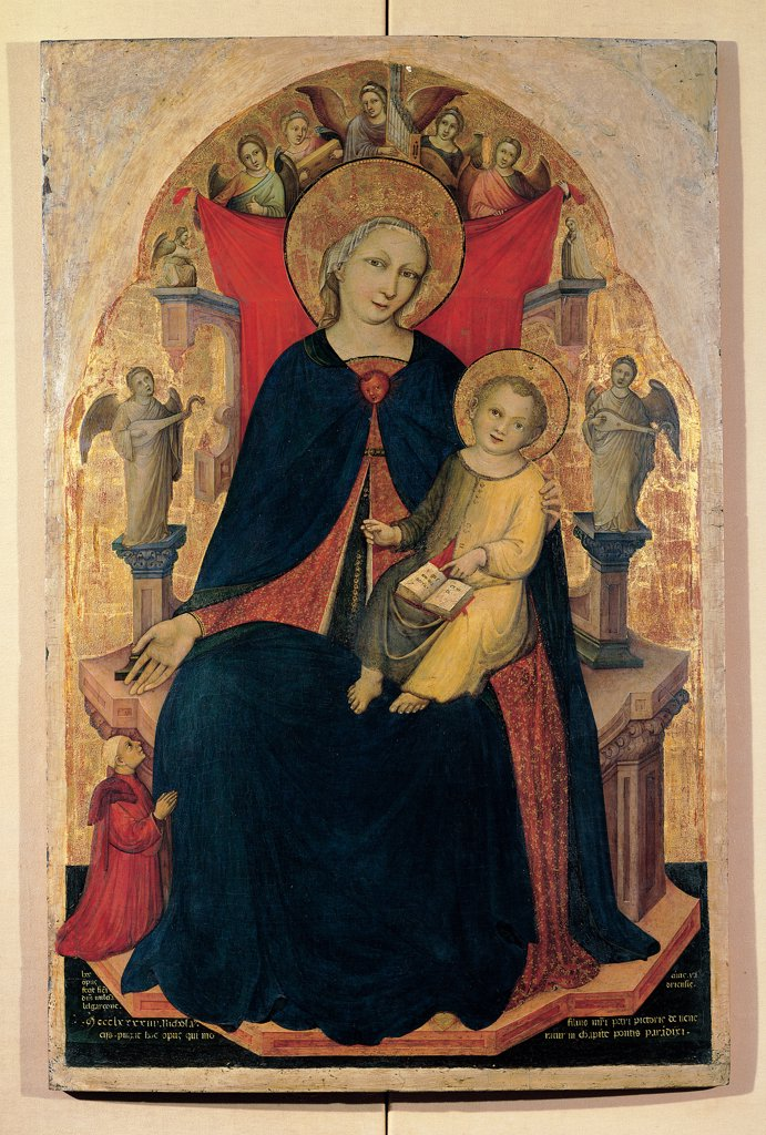 Stock Photo: 1899-30240 Altarpiece with Madonna seated on the throne and Child, by Nicolo di Pietro, 14th Century, tempera on board with golden background. Italy, Veneto, Venice, Accademia Galleries. Whole artwork. Panel altarpiece Madonna Mary enthroned seated holding Baby Jesus: Child Jesus: Christ Child dressed green mantle: cloak yellow book open halo: aureole angels arms throne musicians throne projection angel kneeling an.