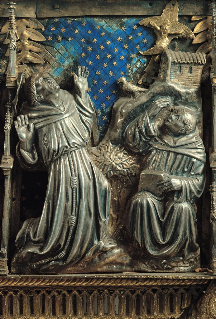 Reliquary of the Holy Innocents, by Unknown, 15th Century, silver and enamel. Italy, Lombardy, Milan, Sant'Ambrogio Museum. Detail. Reliquary Holy Innocents figures saints mystic ecstasy apparition Church Benedictine habit tonsure starry sky night enamel. : Stock Photo