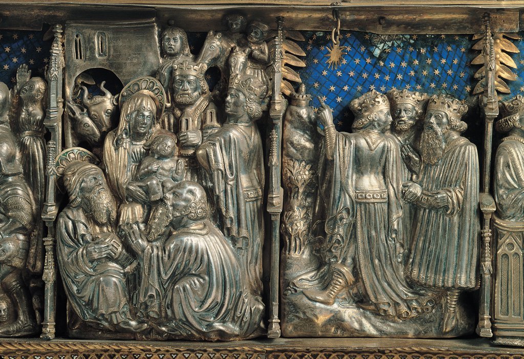 Reliquary of the Holy Innocents, by Unknown, 15th Century, silver and enamel. Italy, Lombardy, Milan, Sant'Ambrogio Museum. Detail. Reliquary Holy Innocents Nativity Jesus Christ stable Holy Family ox ass donkey Virgin Mary Madonna Joseph Adoration of the Magi Three Kings starry sky night enamel. : Stock Photo