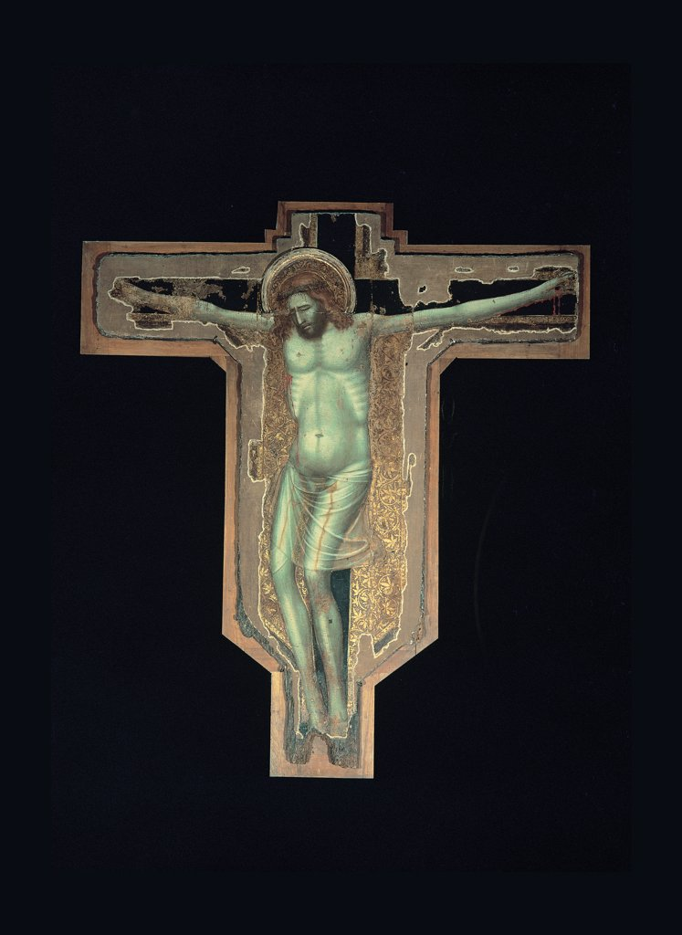 Stock Photo: 1899-30263 Crucifix, by Giovanni Barrile Master, 1331, 14th Century, tempera and oil on panel. Italy, Campania, Caserta, Teano, Cathedral. Full view. Cross Crucifixion Jesus Christ brown black white gold.