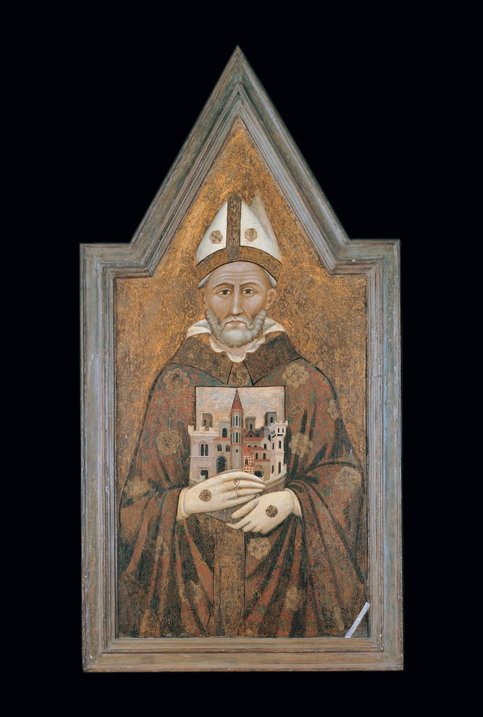 Stock Photo: 1899-30264 St Herculanus, by Maestro dei Dossali di Montelabate, 14th Century, wood. Italy, Umbria, Perugia, National Gallery of Umbria. Full view. Portrait St Herculanus bishop beard mitre gloves model of a town white gold red orange brown.