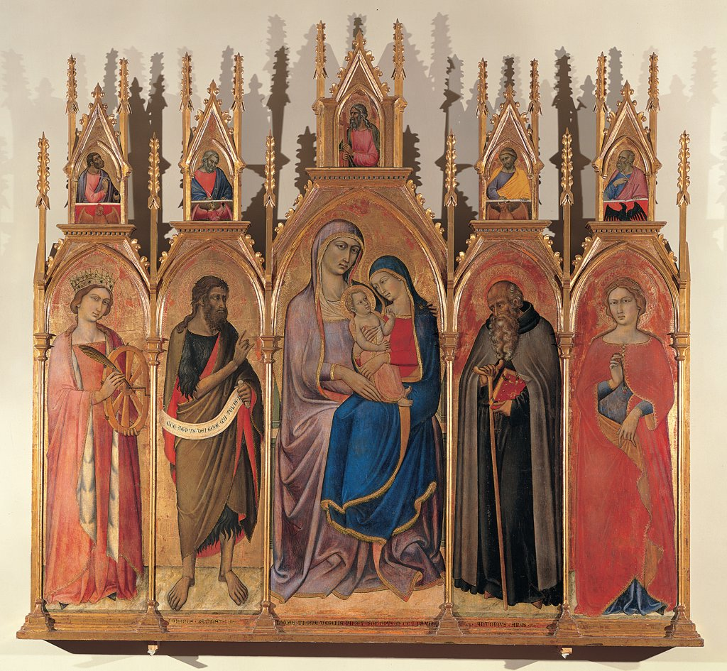Stock Photo: 1899-30273 St Anna Metterza between St Caterina d'Alessio, the Baptist, St Anthony Abbot and St Agnes, by Luca di Tomme, 14th Century, Tavola. Italy, Tuscany, Siena, National Gallery of Art. Whole artwork. Compartments table cuspidate polyptych saints St Mary Virgin Madonna gold red blue colors attributes Baby Jesus: Child Jesus: Christ Child.