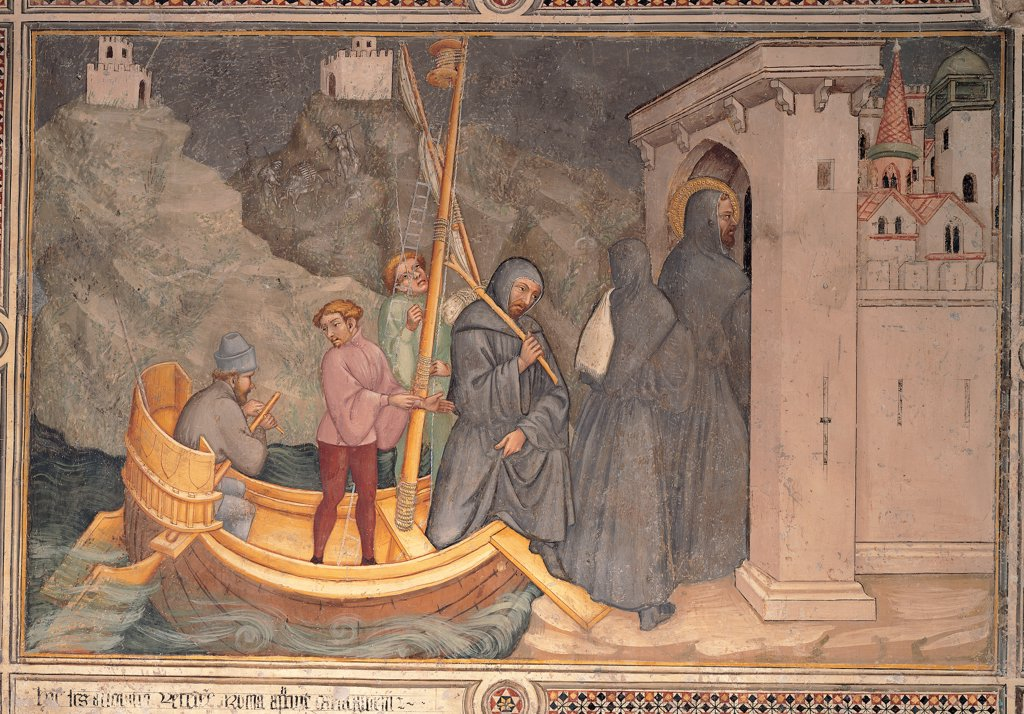 Stories of St Augustine, by Nelli Ottaviano, 1422, 15th Century, fresco. Italy, Umbria, Gubbio, Perugia, San Secondo church. Whole artwork. Arrival St Augustine Carthage. St Augustine men habit: tunic monks boat sea shore rock palace blue gray yellow. : Stock Photo
