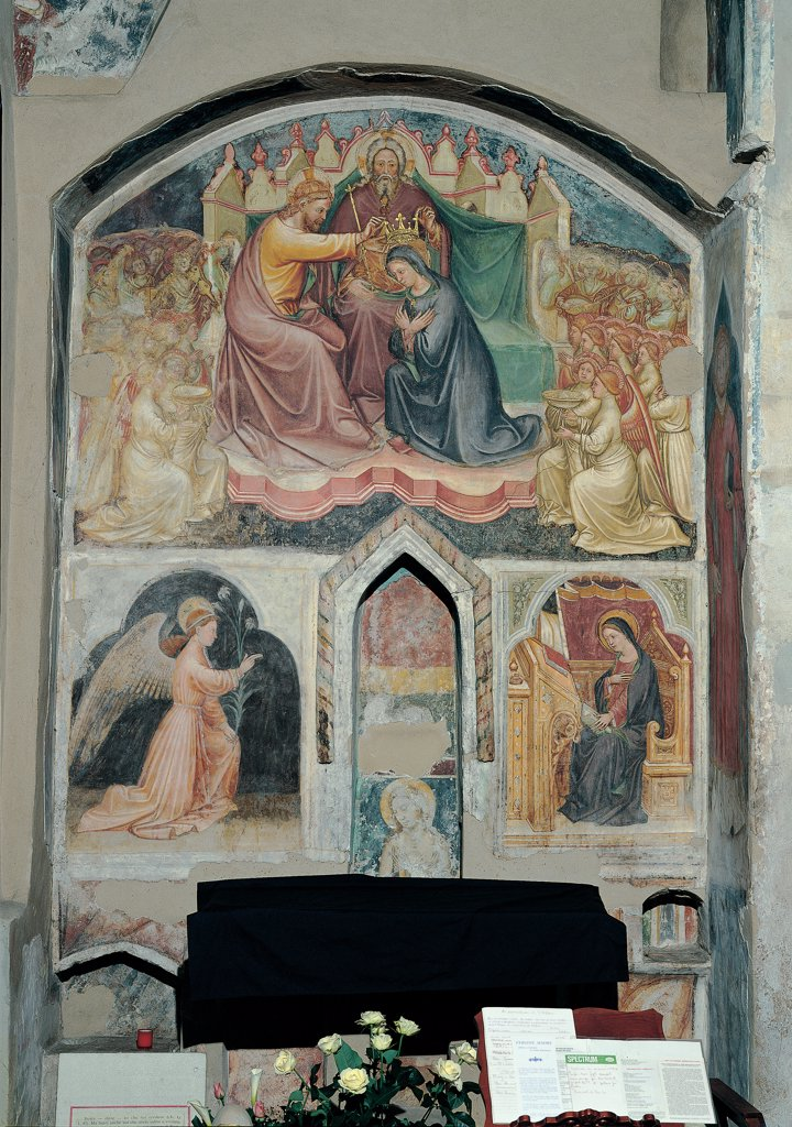 Stock Photo: 1899-30289 Coronation of the Virgin Mary and the Annunciation, by Martino da Verona, 15th Century, fresco. Italy, Veneto, Verona, Santo Stefano Church. Whole artwork. Stories life St Mary Madonna Virgin assumption coronation throne God Eternal host angels saints drape Angel Gabriel Annunciation lily seat altar.