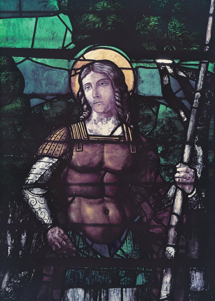 Stock Photo: 1899-30295 Window with warrior saint, by Mocetto Girolamo, 16th Century, stained-glass window. Italy, Veneto, Venice, Santi Giovanni e Paolo Basilica. Detail. Window saint standing front view face in three-quarter halo: aureole wearing armor: cuirass in holding spear: lance his left hand colors brown green yellow white.