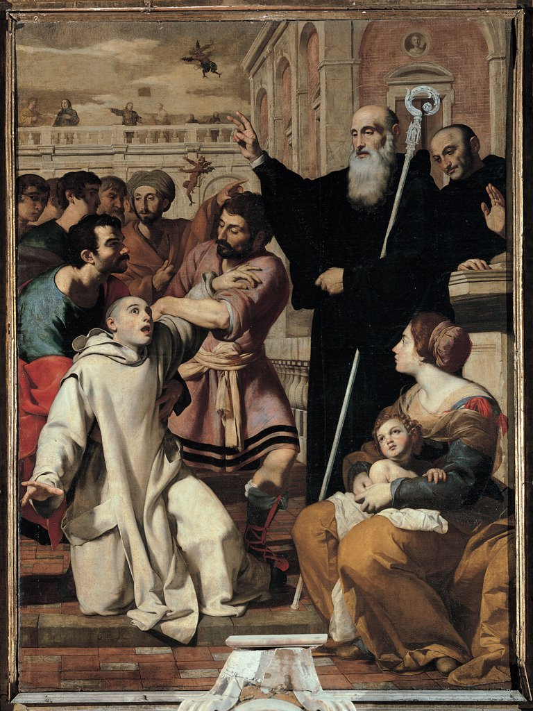 St Benedict Delivering a Monk from the Devil, by Guarino Francesco, 17th Century, tela. Italy, Molise, Campobasso, Sant'Antonio Abate church. Whole artwork. Episode life St Benedict miracle friar possessed monk exorcism pastoral staff habit: tunic onlookers: bystanders woman child: baby mother men buildings architectural divisions. : Stock Photo