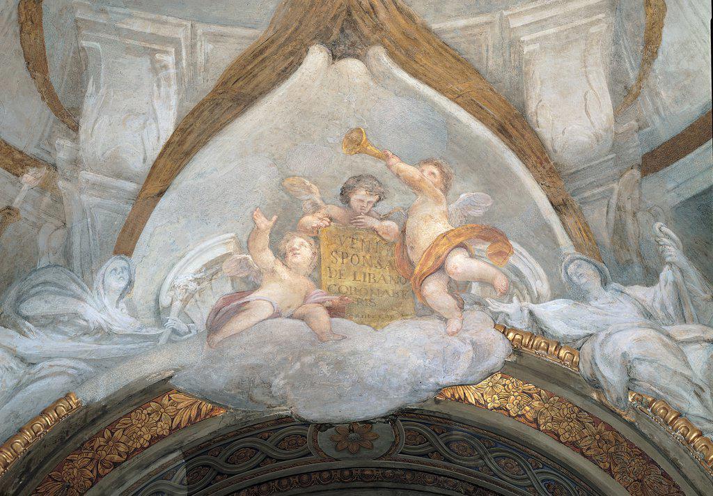 Fresco decoration on ceiling of the Basilica of the Madonna della Misericordia, by Mancini Francesco, 18th Century, fresco. Italy, Marche, Macerata, Madonna della Misericordia Basilica. Detail. Angels clouds trumpet inscription white gold grey. : Stock Photo