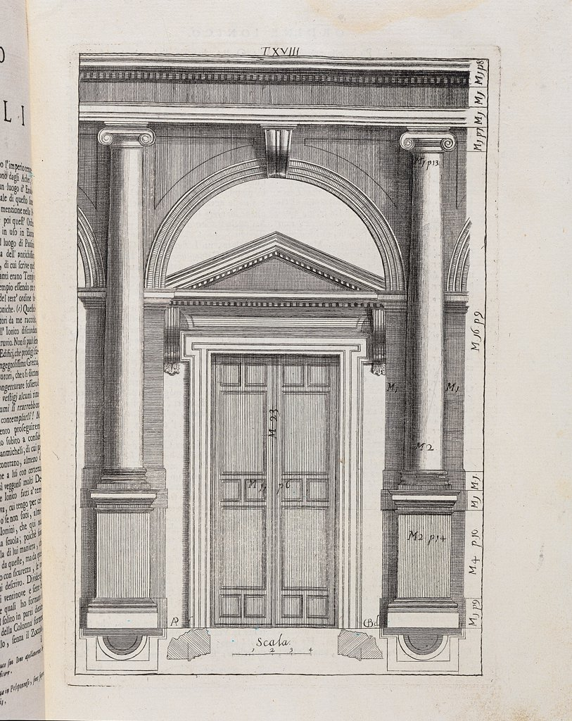 Stock Photo: 1899-30333 Illustration of the Ionian order by Sanmicheli, by Pompei Alessandro, 1735, 18th Century, Unknow. Italy, Lombardy, Milan, Braidense National Library. Whole artwork. Architectural drawing column base Ionian order tympanum: gable door bracket: console capital entablature.